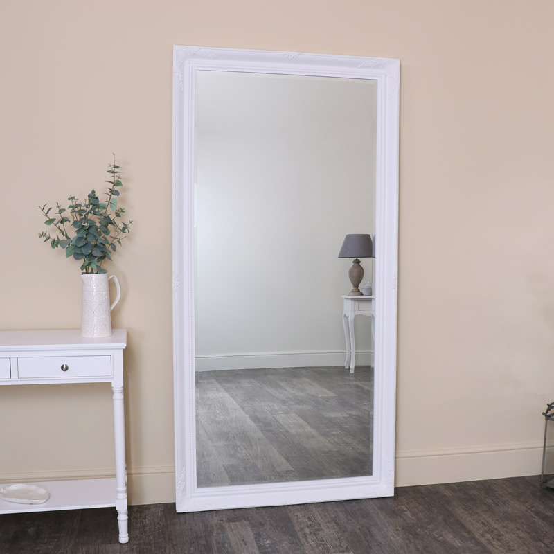 Extra, Extra Large White Ornate Wall/Leaner Mirror 100cm x 200cm