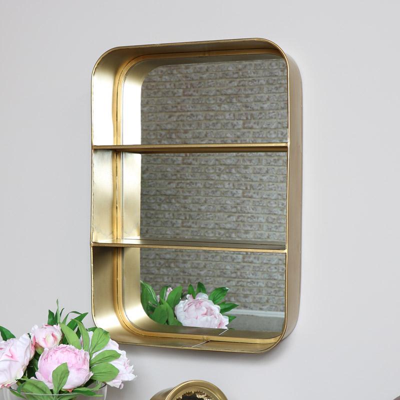Bronze Mirrored Wall Shelf
