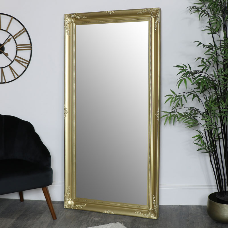 Large Gold Ornate Wall/Floor Mirror 158cm x 78cm