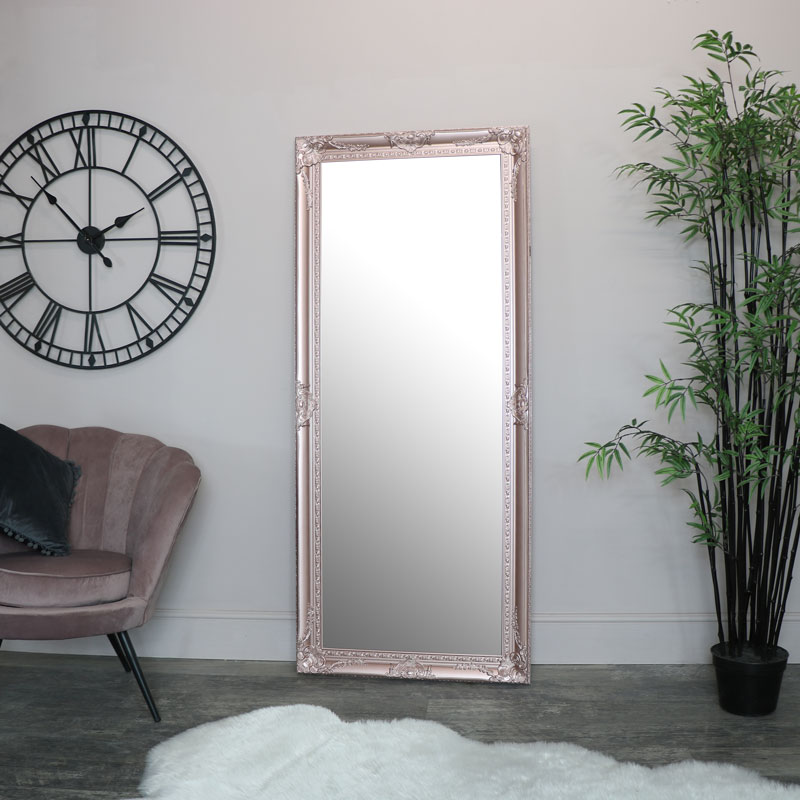 Large Ornate Rose Gold Pink Wall/Floor Mirror 176cm x 76cm