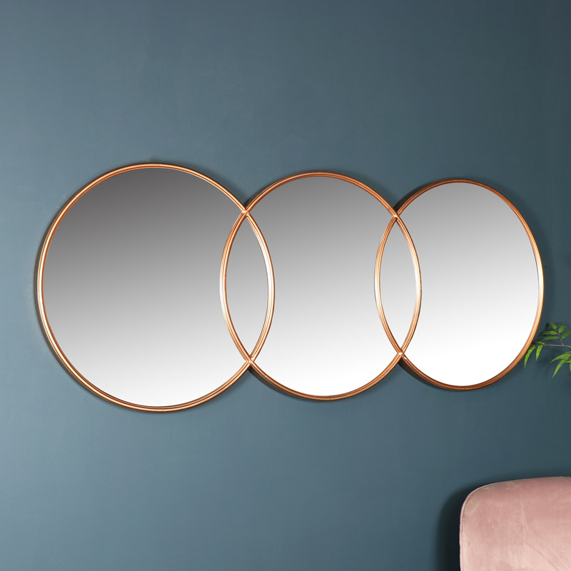 Copper Circle Wall Mirror 150cm x 45cm