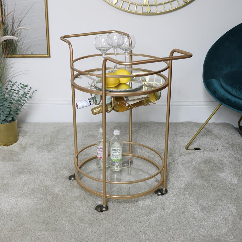 Gold Glass Drinks Trolley