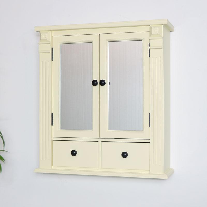 Cream Mirrored Bathroom Wall Cabinet