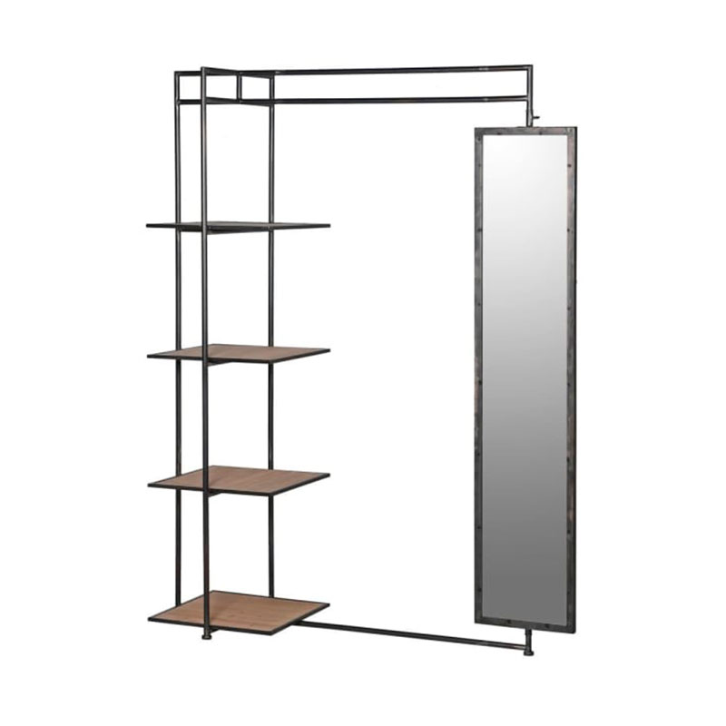 Metal Mirrored Valet Shelving Unit