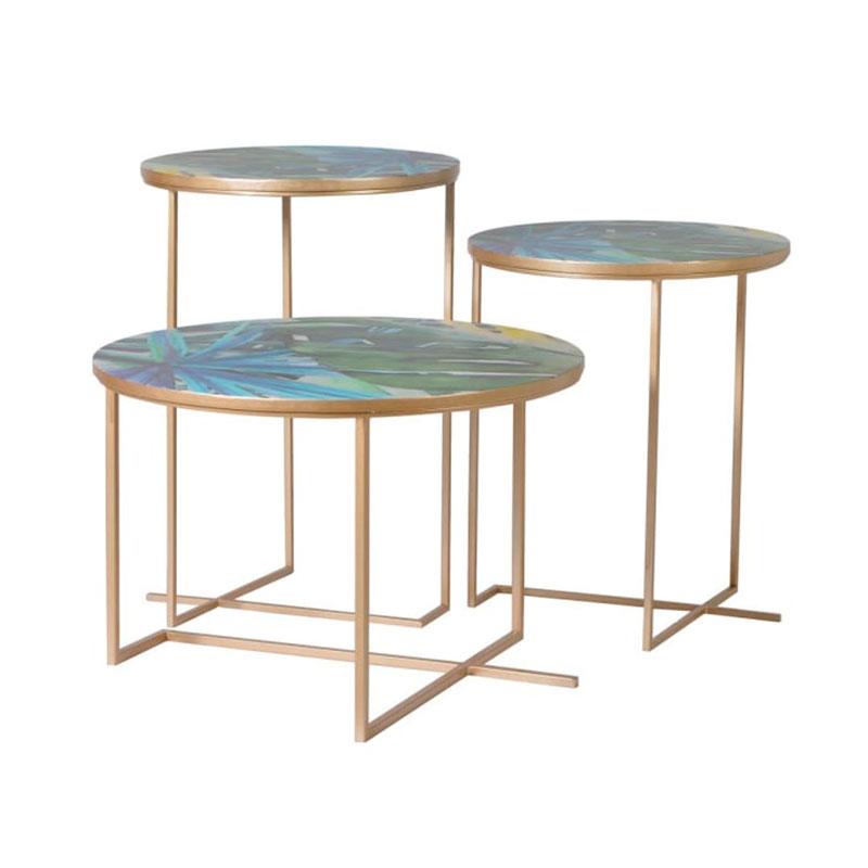 Set of 3 Gold Tropical Leaf Print Tables