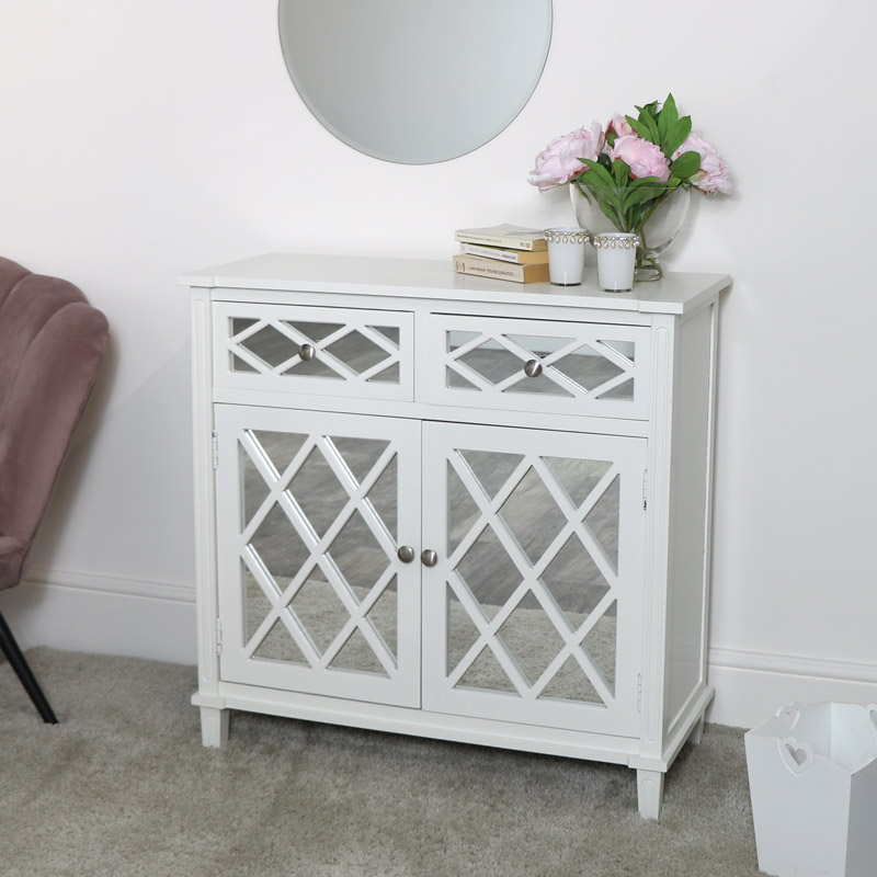White Mirrored Cupboard Unit