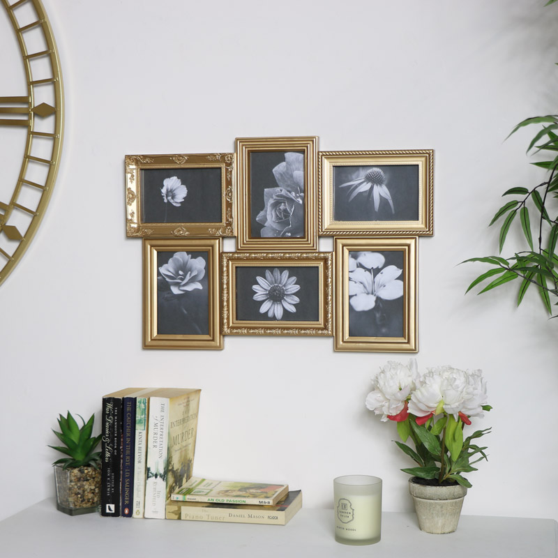 Gold Ornate 6 Multi Photo Frame