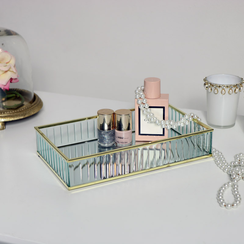 Gold Glass Mirrored Trinket Tray