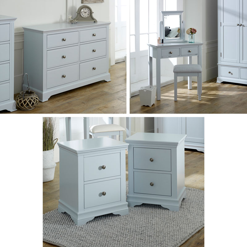 Grey Bedroom Furniture, Large Chest of Drawers, Dressing Table Set & Bedside Tables - Newbury Grey Range