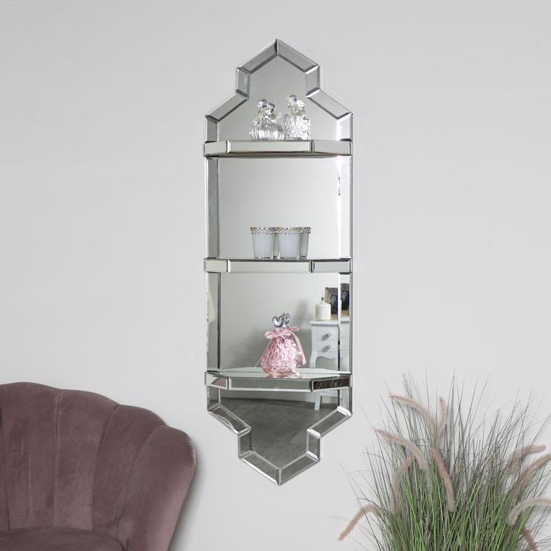 Art Deco Mirrored Wall Shelf Unit