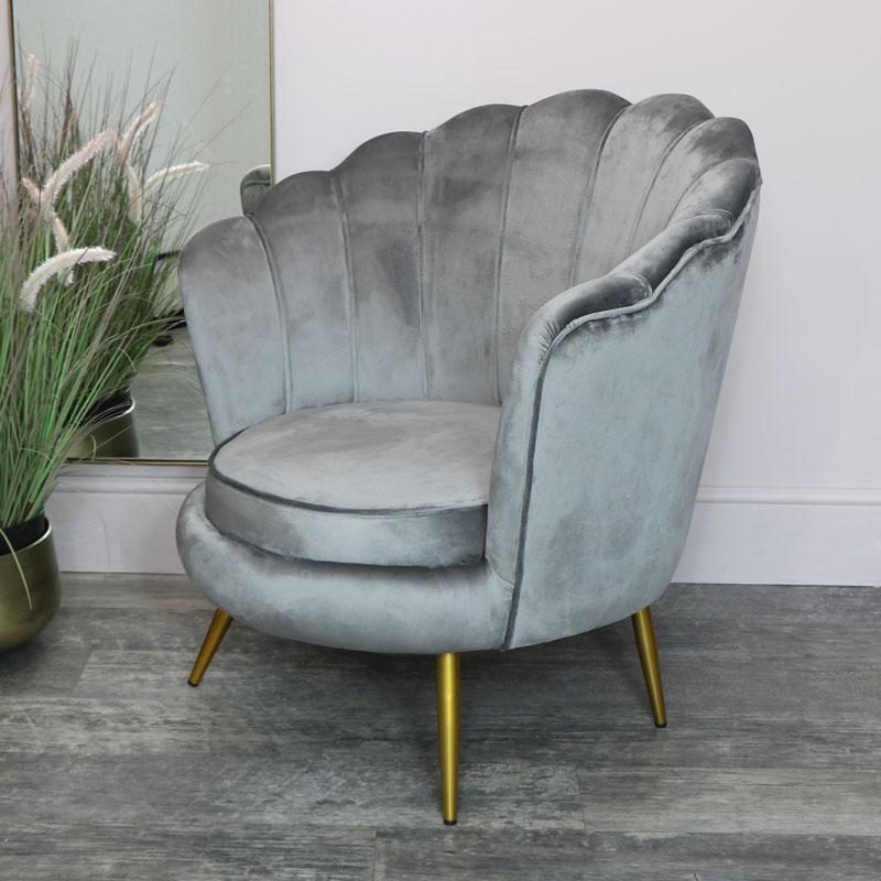 Grey Velvet Shell Chair