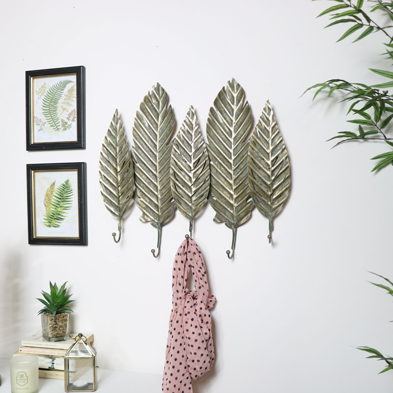 Gold Leaf Wall Hooks