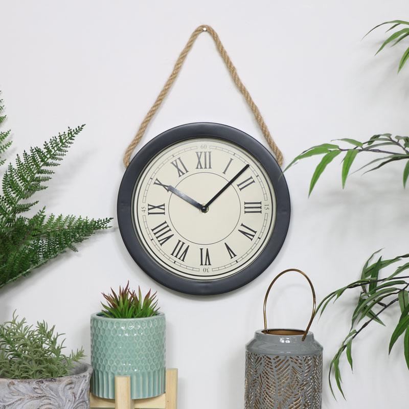 Round Black Clock with Rope