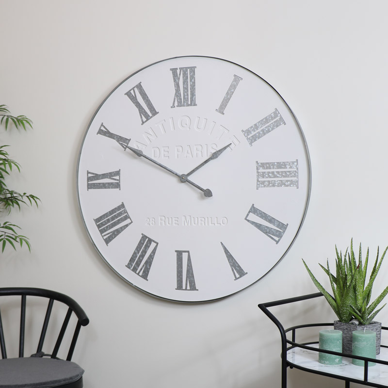 Large White Vintage Wall Clock