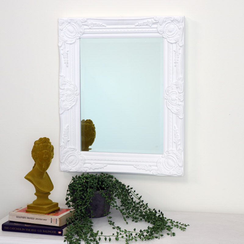 Ornate White Wall Mirror with Bevelled Glass 52cm x 42cm