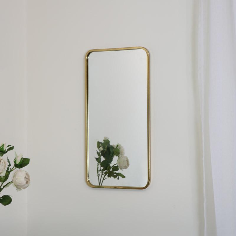 Gold Thin Framed Wall Mirror 38cm x 76cm