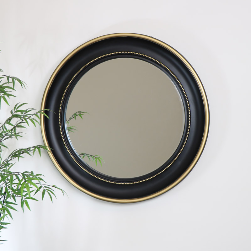 Round Black & Gold Wall Mirror 90cm x 90cm