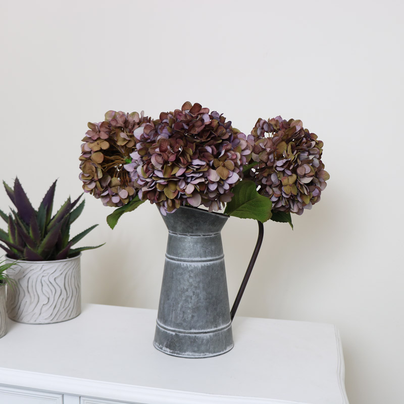 Set Of 3 Faux Autumn Hydrangeas