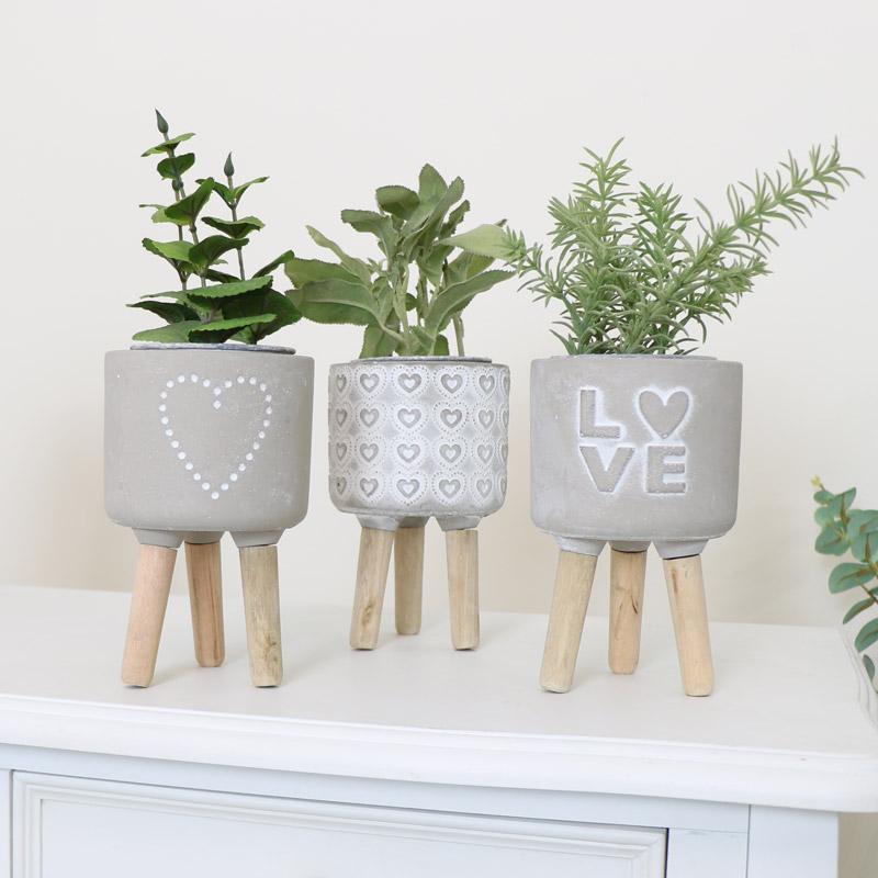 Set of 3 Grey Love Planters