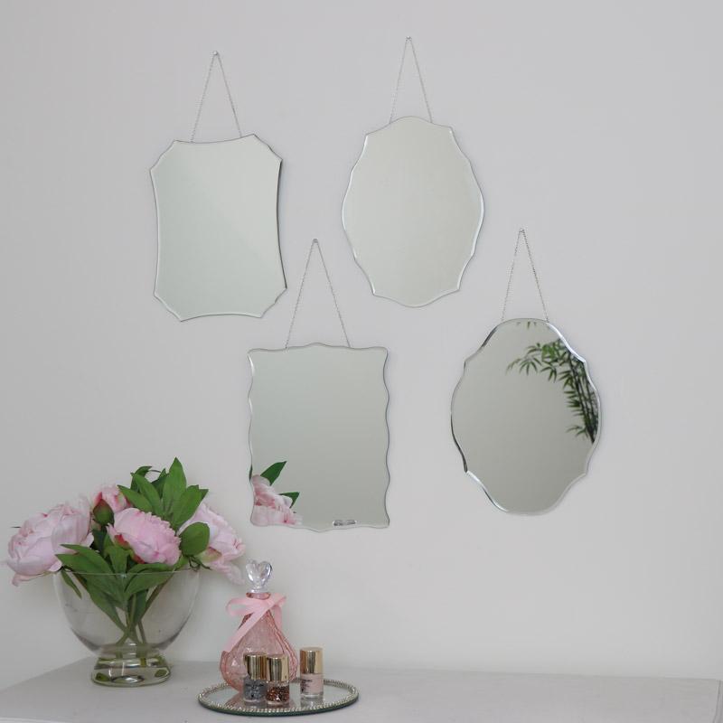 Set of 4 Frameless Wall Mirrors