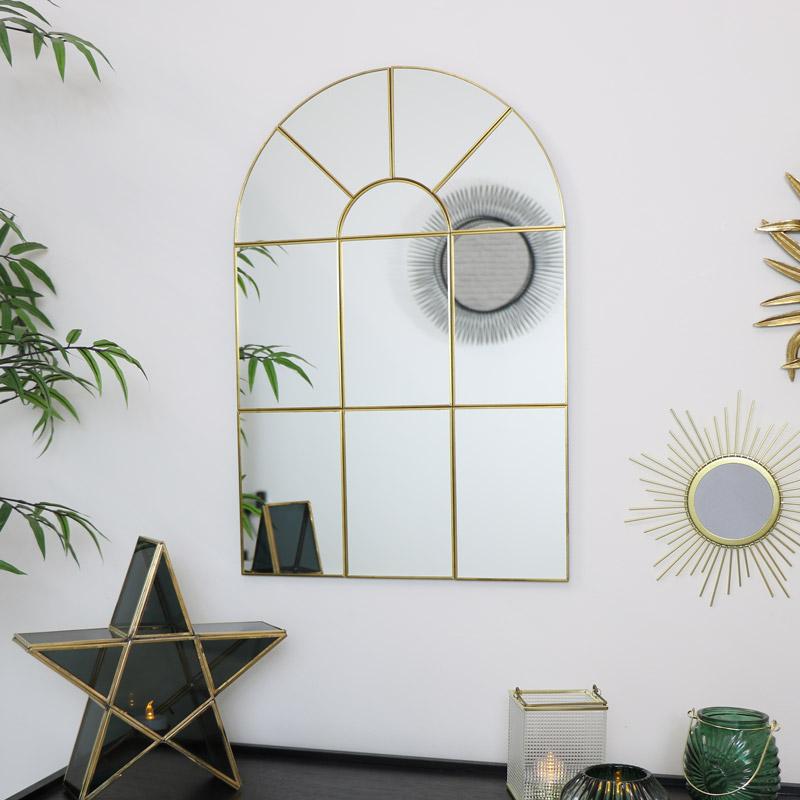Gold Arch Window Mirror 65cm x 45cm