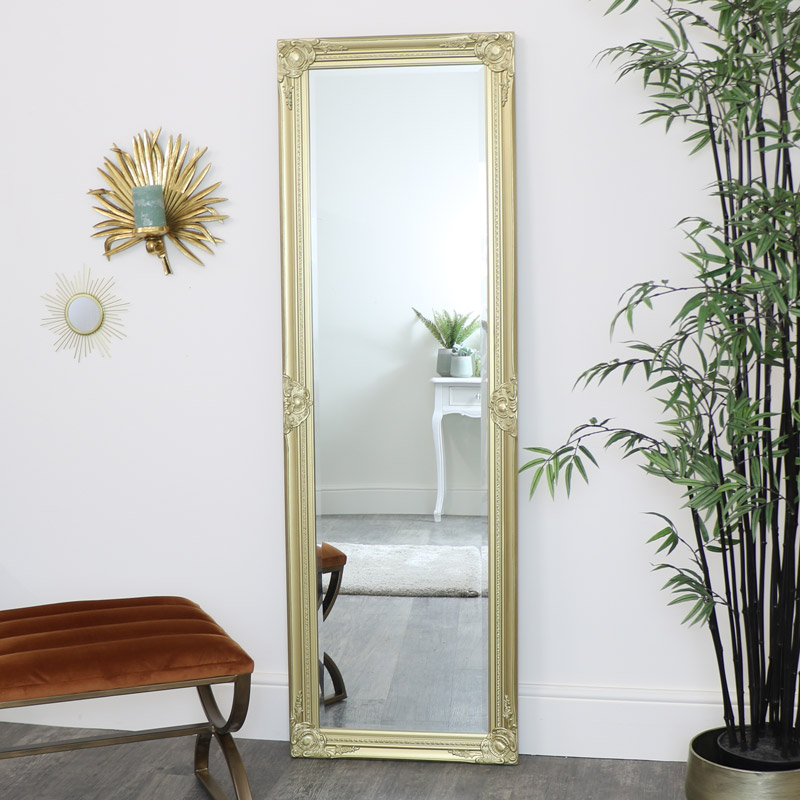 Tall Ornate Gold Wall / Leaner Mirror 168cm x 54cm