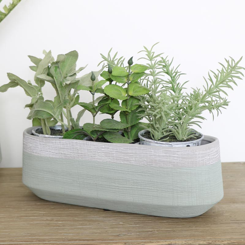 Long Grey & Green Planter Pot