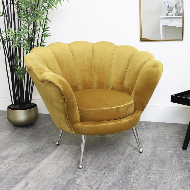 Mustard Velvet Shell Chair with Silver Legs