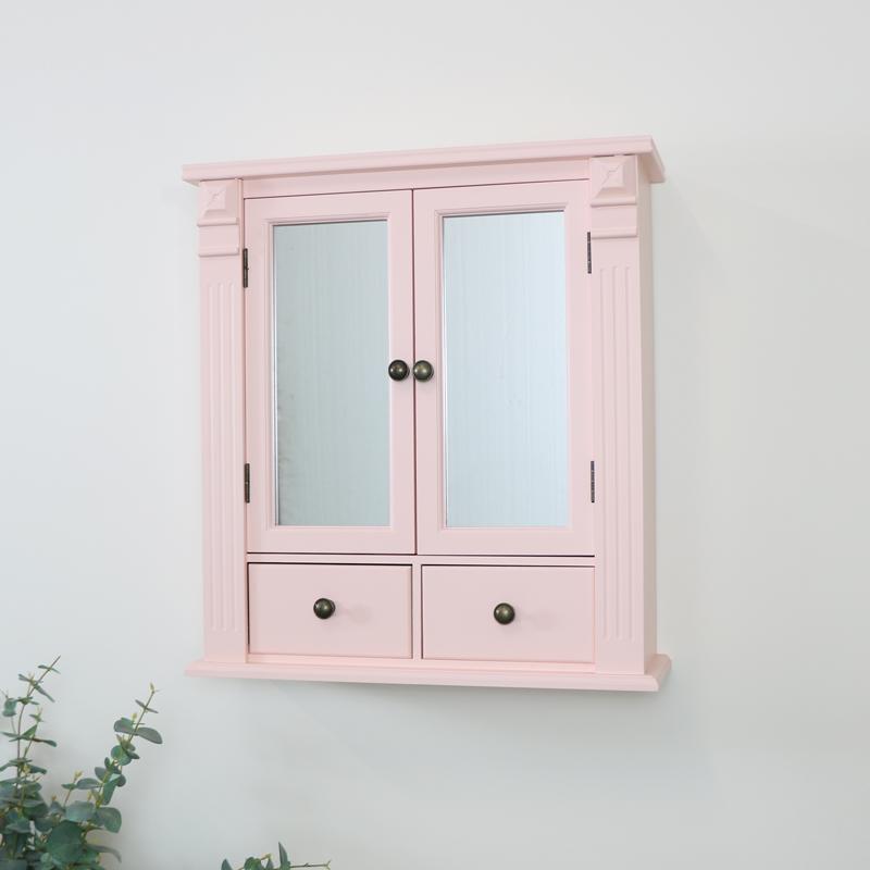 Pink Mirrored Bathroom Wall Cabinet