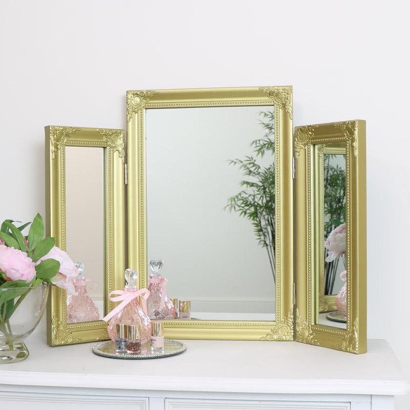 Ornate Gold Triple Dressing Table Mirror 55cm x 74cm