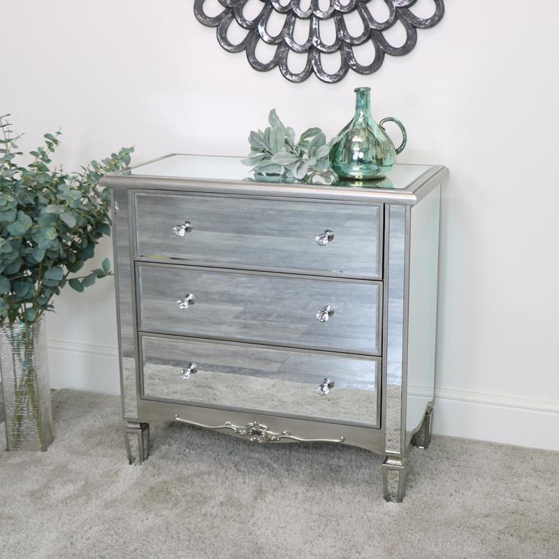 3 Drawer Mirrored Chest of Drawers  - Tiffany Range