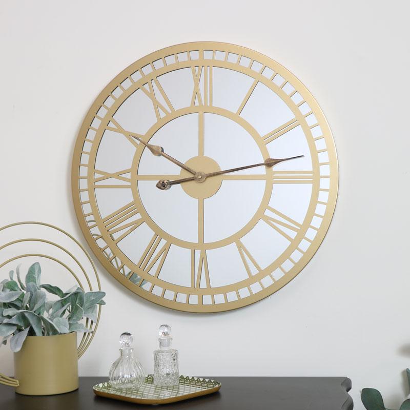 Gold Mirrored Skeleton Clock 60cm x 60cm