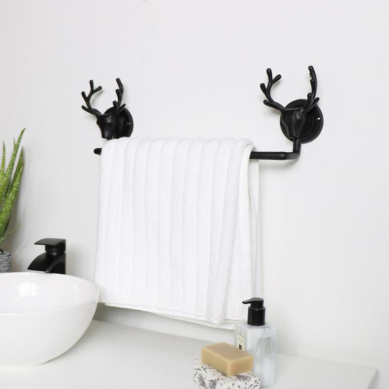 Black Stag Towel Rail