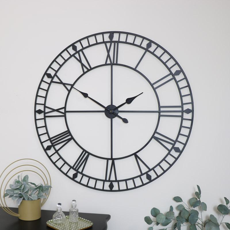 Extra Large Black Metal Skeleton Clock 100cm x 100cm
