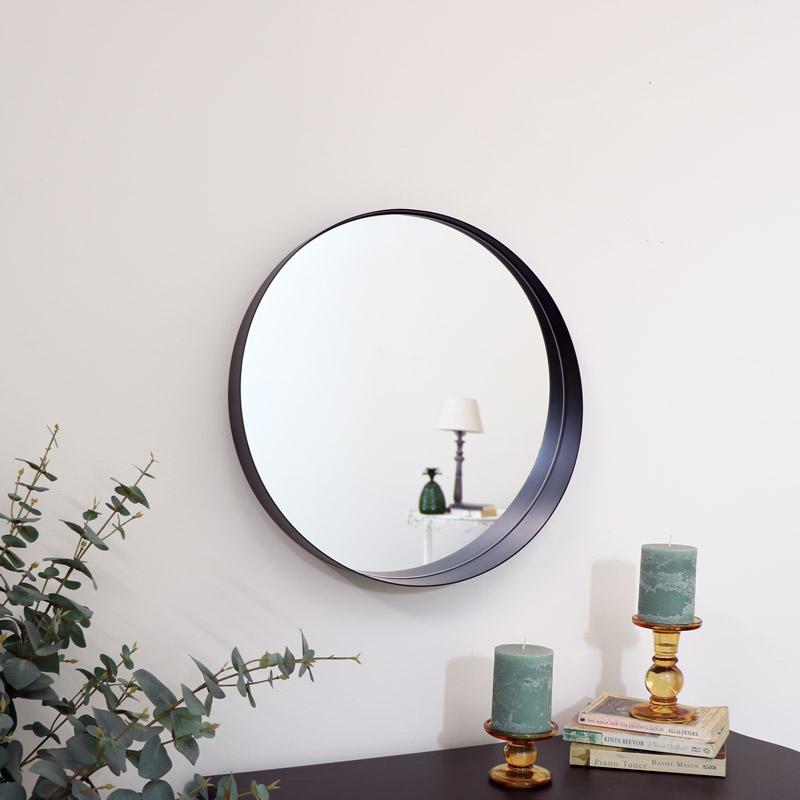 Round Black Framed Mirror 50cm x 50cm