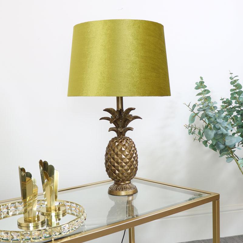 Gold Pineapple Lamp With Mustard Velvet Shade