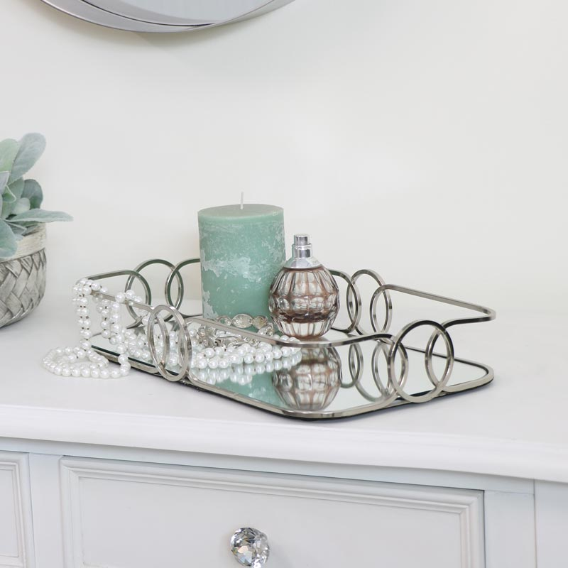 Curved Silver Mirrored Tray