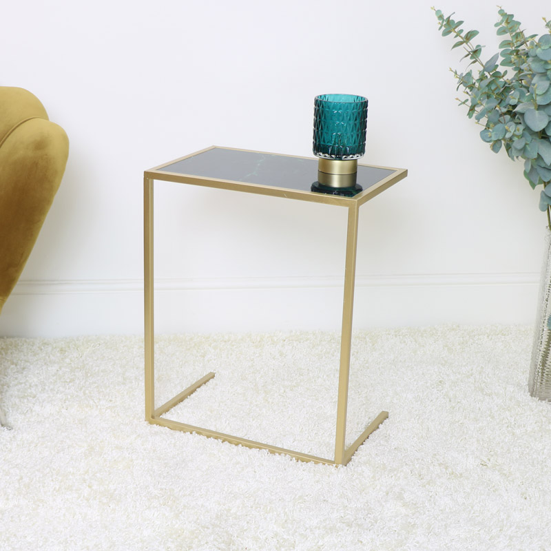 Pair of Green & Gold Marble Side Tables
