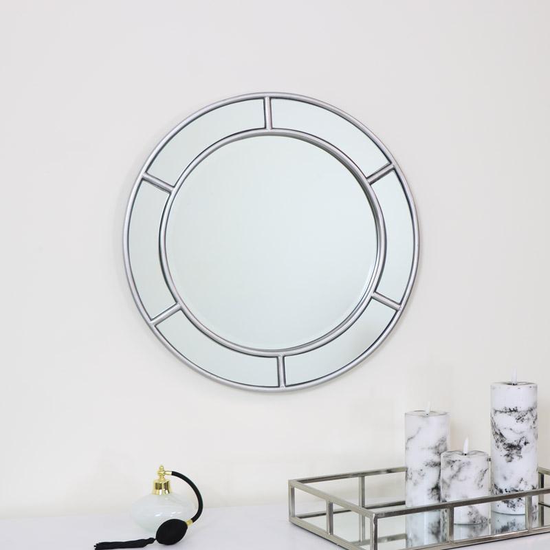 Round Silver Window Mirror 50cm x 50cm