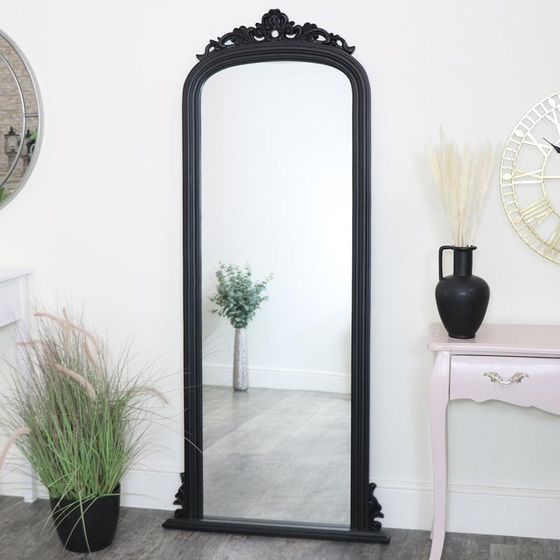 Tall Black Ornate Vintage Wall / Leaner Mirror 80cm x 180cm