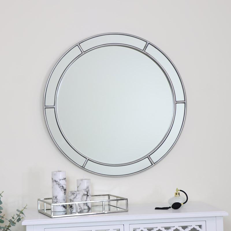 Large Round Silver Window Mirror 80cm x 80cm