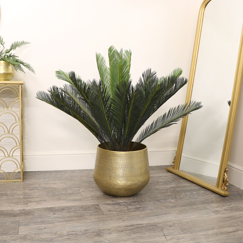 Extra Large Round Gold Patterned Planter