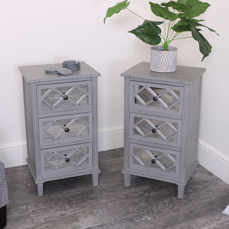 Pair of Grey Mirrored Bedsides/Lamp Tables
