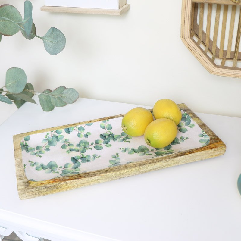 Wooden Eucalyptus Enameled Serving Tray Plate