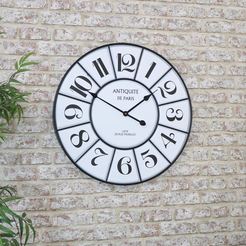 Large Black & White Vintage Wall Clock