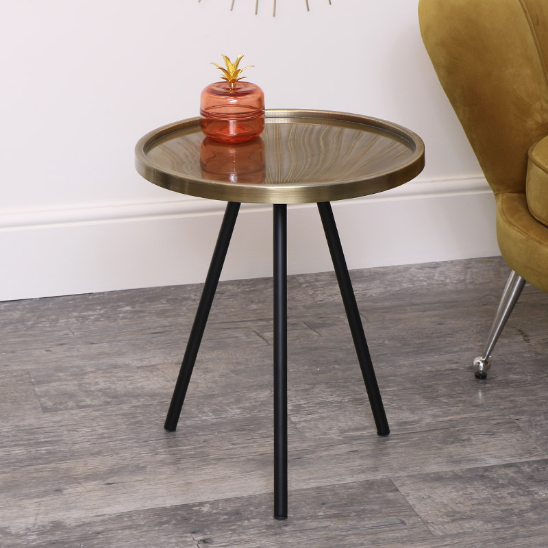 Large Black & Gold Round Side Table