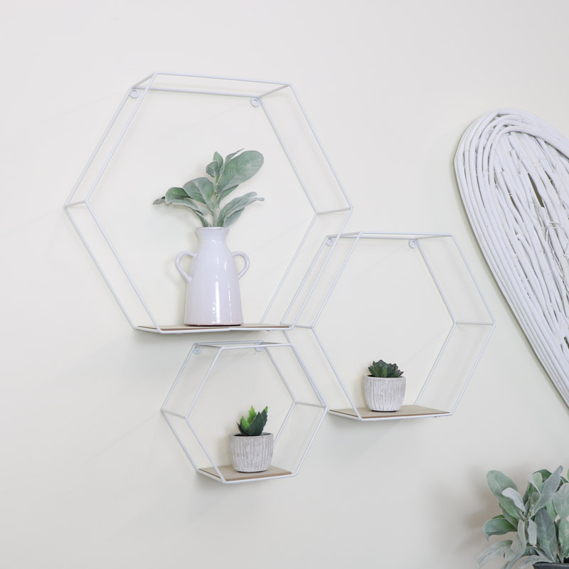 Set of 3 White Hexagon Shelves