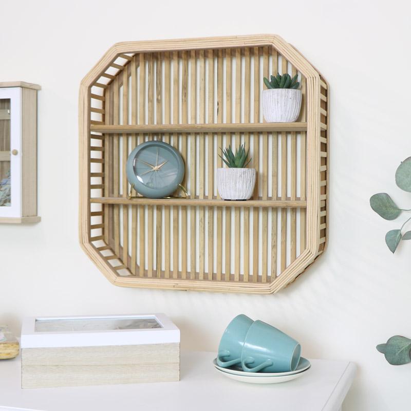 Square Rattan Wooden Shelf