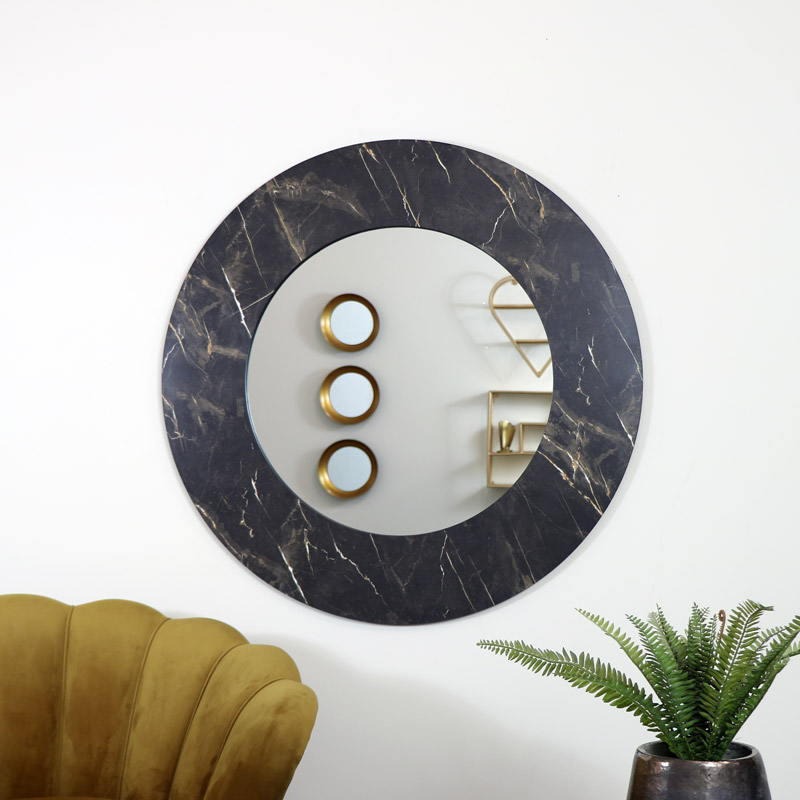 Large Round Black Marble Wall Mirror