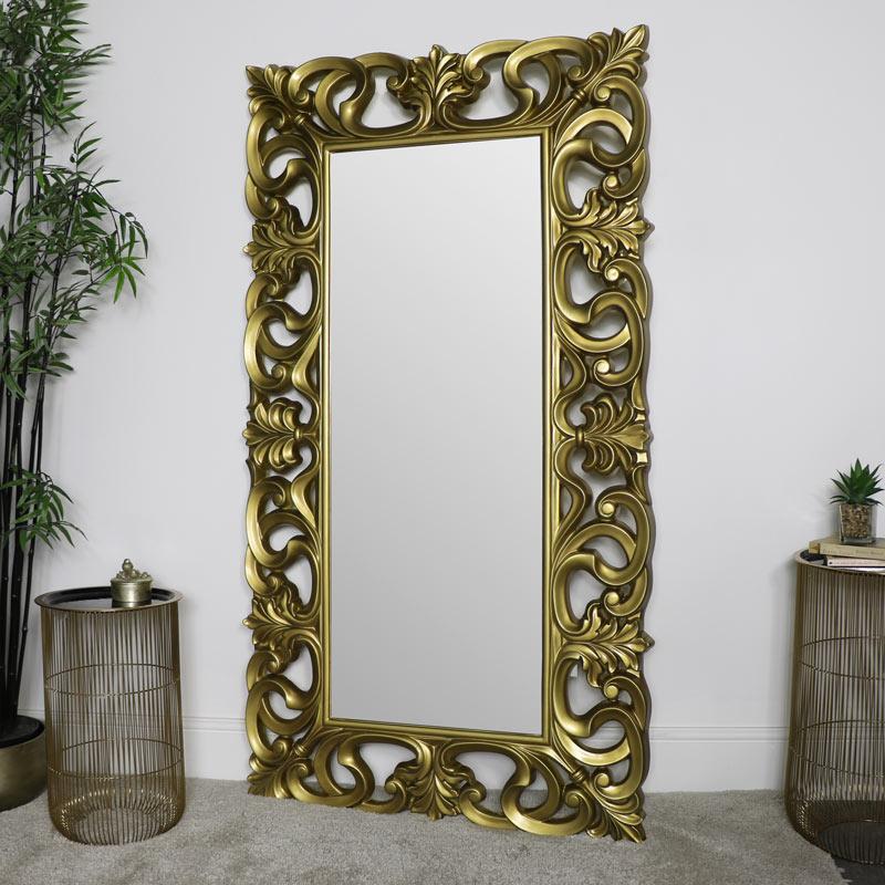 Large Ornate Gold Wall / Floor Mirror 90cm x 168cm